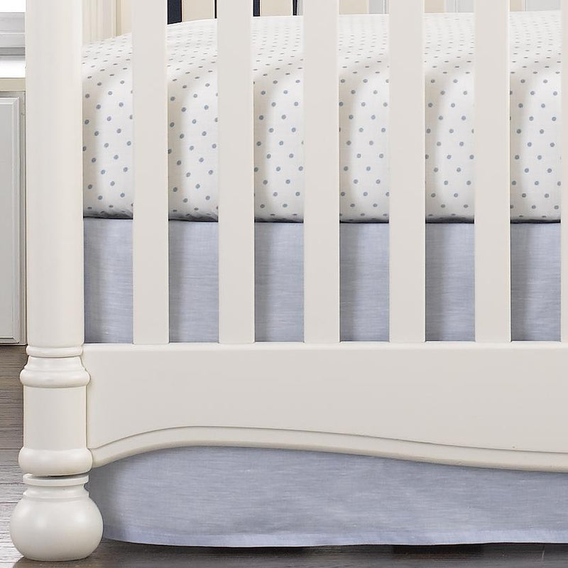 Liz & Roo Light Blue Linen Crib Skirt 16