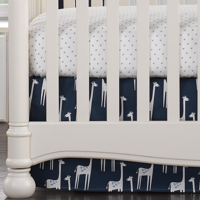 "Liz & Roo Navy Giraffe Crib Skirt 17"" Drop"