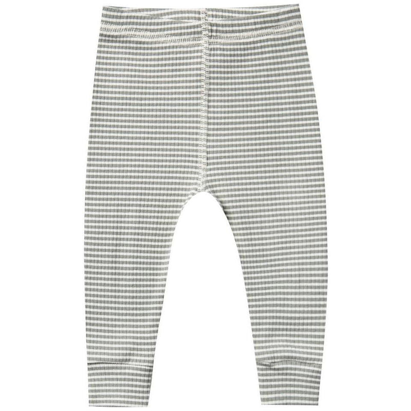 Quincy Mae Ribbed Legging | Eucalyptus Stripe