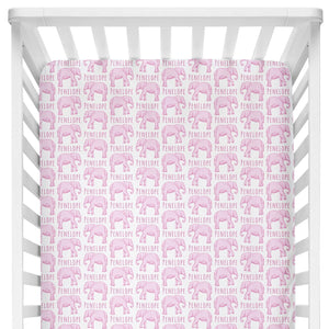 Sugar + Maple Crib Sheet - Elephant Pink