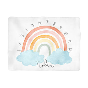 Sugar + Maple Colorful Rainbow Arch Milestone Blanket - Personalized