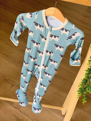Kozi Kids Footed Pajama with Zipper | Blue Cows