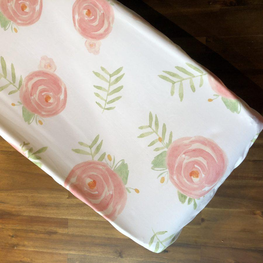 Liz & Roo Pink Peony Floral Contoured Changing Pad Cover