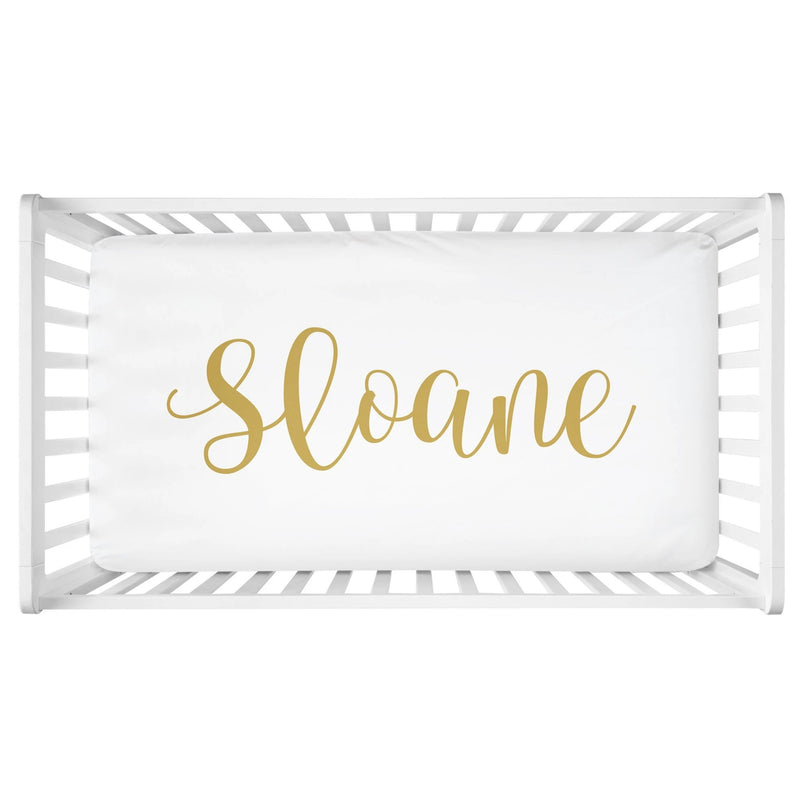 Sugar + Maple Personalized Crib Sheet - Centered Name