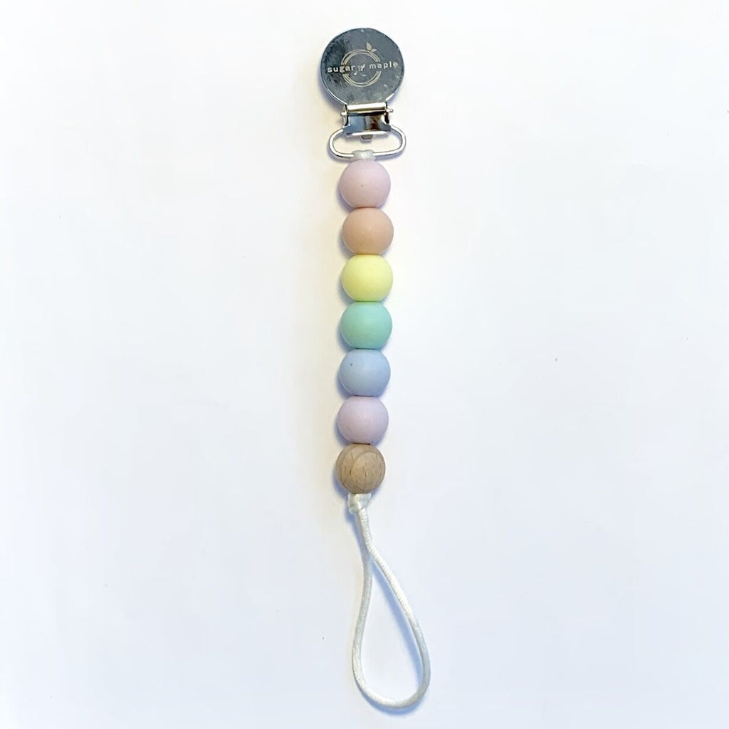 Sugar + Maple Pacifier + Teether Clip- Silicone with 1 Beechwood Bead - Rainbow Pastel
