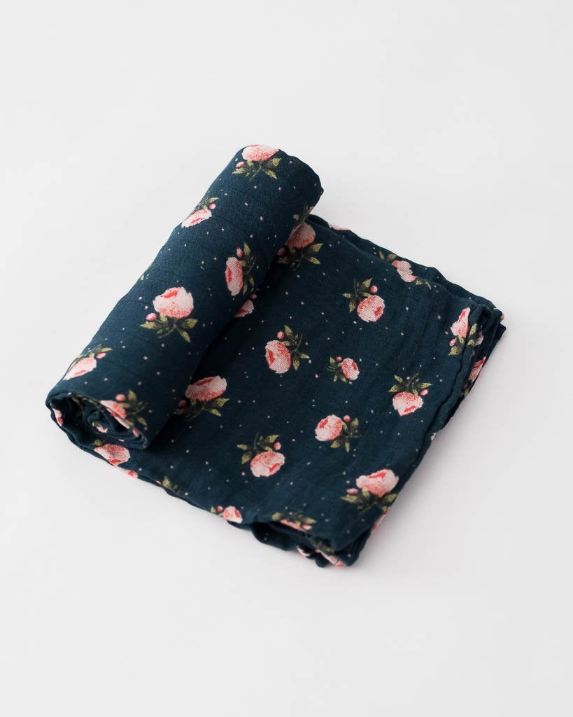 Little Unicorn Cotton Swaddle - Midnight Rose