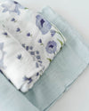 Little Unicorn Deluxe Swaddle Set - Blue Windflower Set