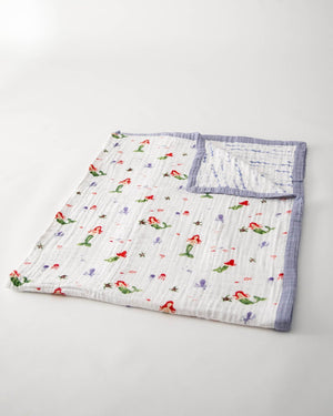Little Unicorn Big Kid Cotton Muslin Quilt - Mermaid
