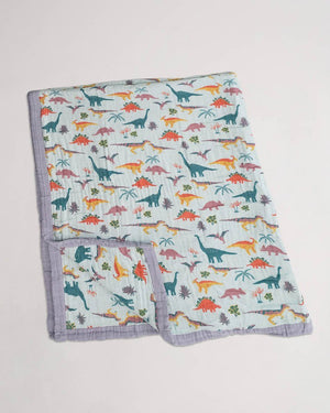 Little Unicorn LU + Jurassic World Big Kid Cotton Muslin Quilt - Embroidosaurus