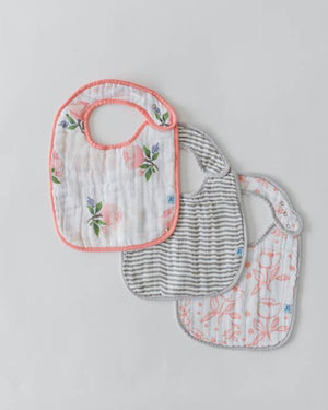 Little Unicorn Cotton Muslin Classic Bib 3 pack - Watercolor Rose