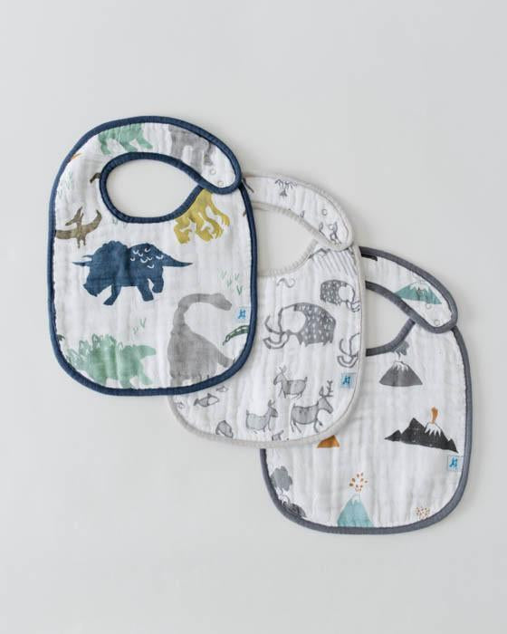 Little Unicorn Cotton Muslin Classic Bib 3 pack - Dino Friends
