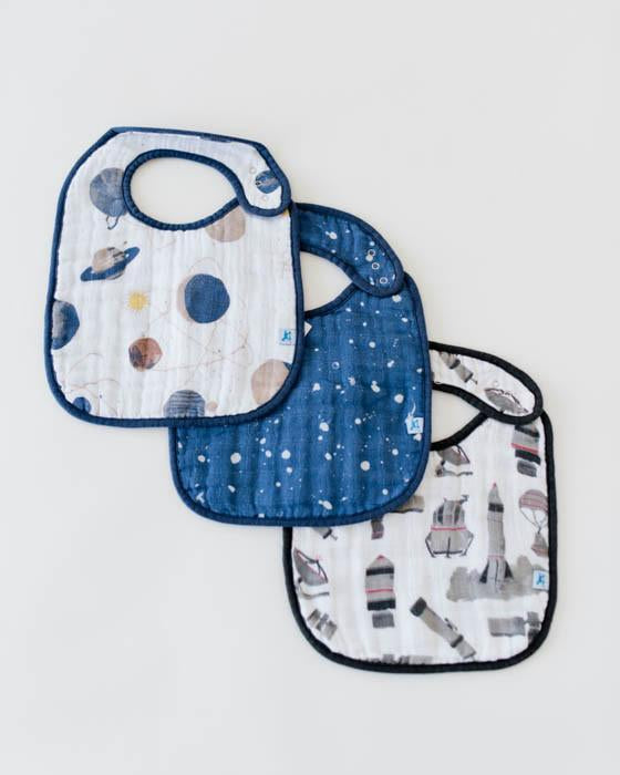 Little Unicorn Cotton Muslin Classic Bib 3 pack- Planetary