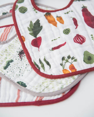 Little Unicorn Cotton Muslin Classic Bib 3 pack - Farmers Market Set