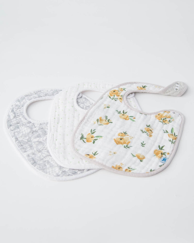 Little Unicorn Cotton Muslin Classic Bib 3 pack - Yellow Rose Set