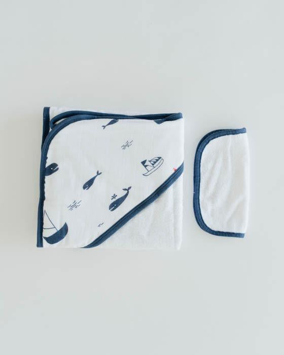 Little Unicorn Hooded Towel & Washcloth Set - Nautical Harbor