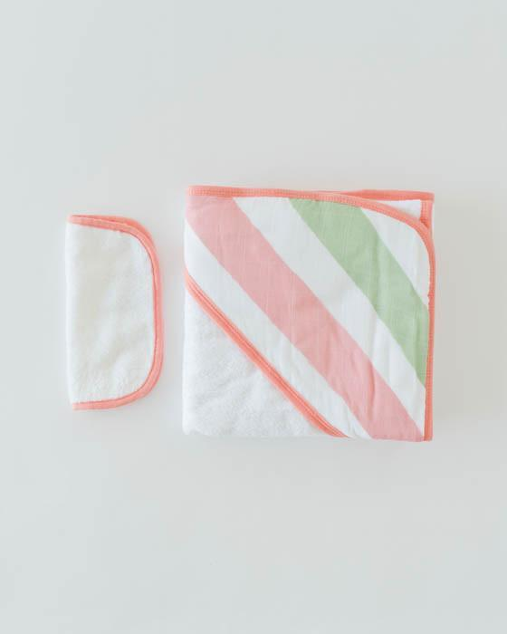 Little Unicorn Hooded Towel & Washcloth Set - Cabana Stripe