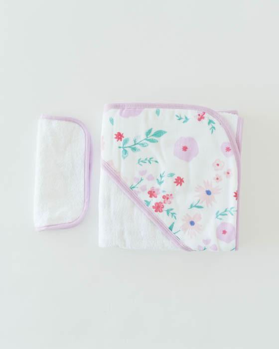 Little Unicorn Hooded Towel & Washcloth Set - Morning Glory