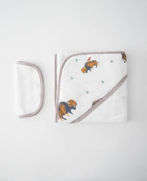 Little Unicorn Hooded Towel & Washcloth Set - Bison
