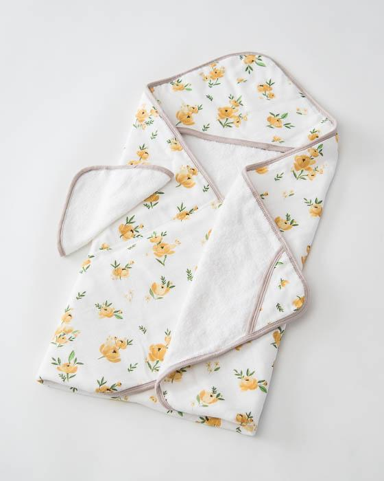 Little Unicorn Hooded Towel & Washcloth Set - Yellow Rose