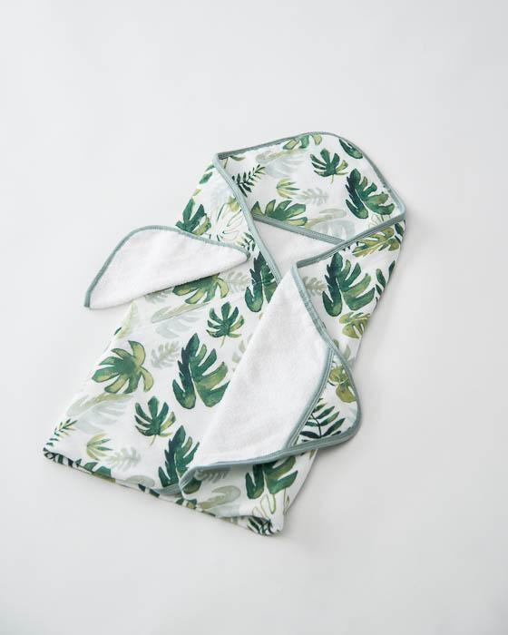 Little Unicorn Hooded Towel & Washcloth Set - Tropical Leaf