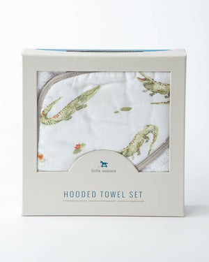 Little Unicorn Hooded Towel & Washcloth Set - Gators