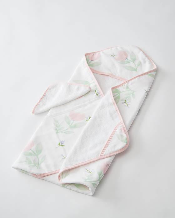 Little Unicorn Hooded Towel & Washcloth Set - Pink Peony