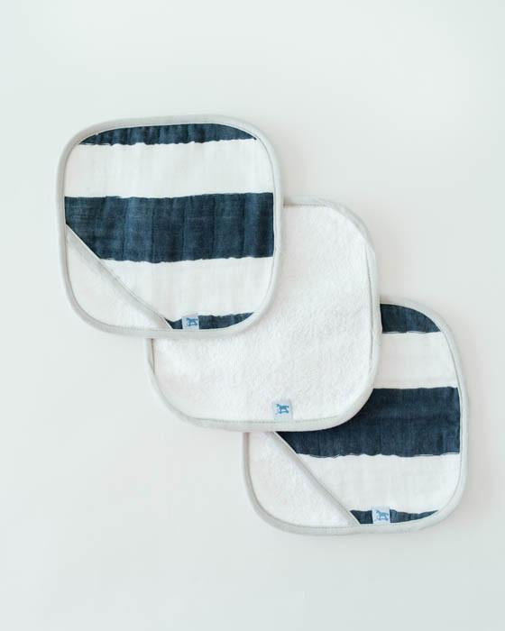 Little Unicorn Washcloth Set - Navy Stripe
