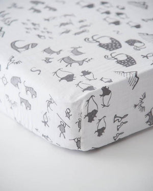 Little Unicorn Cotton Muslin Crib Sheet - Cave Art