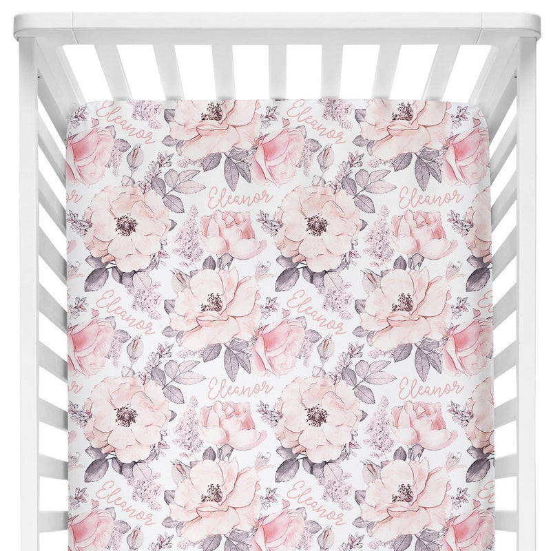 Sugar + Maple Crib Sheet - Wallpaper Floral