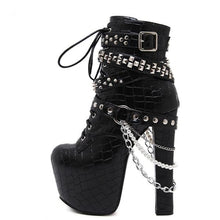 Load image into Gallery viewer, 'Chains Chick' High Heels Platform Boots