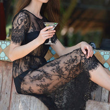 "Load image into Gallery viewer, ""Long Lace"" Black Dress"
