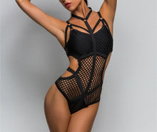 "Load image into Gallery viewer, ""Black Sea"" Fishnet Body Suit"