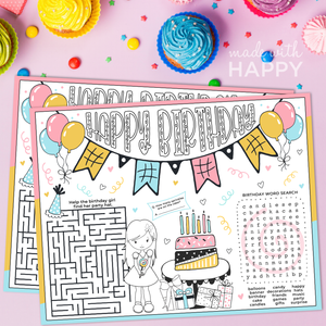 HAPPY BIRTHDAY COLORING PAGES - GIRL