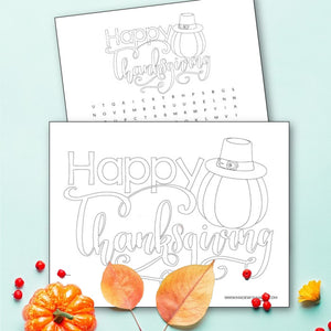 Happy Thanksgiving Coloring Page and Word Search