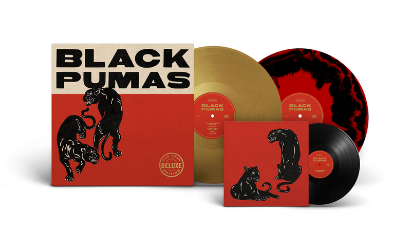 "Black Pumas - Black Pumas (Deluxe) [LP + 7"" - Red/Black Splatter / Gold]"