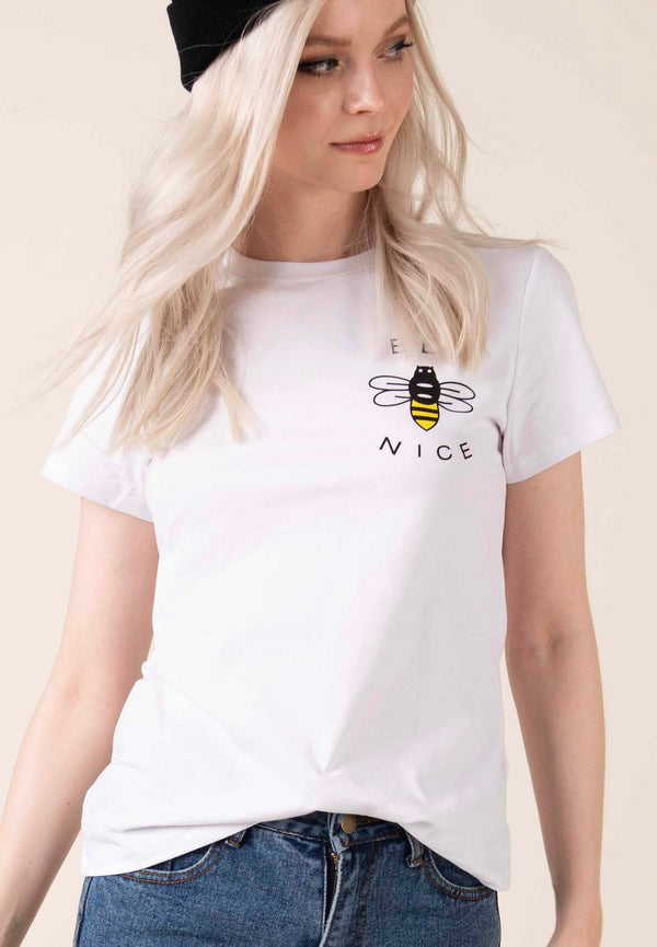 """Busy Bee"" -  White T-shirt - Just Your Dream London"
