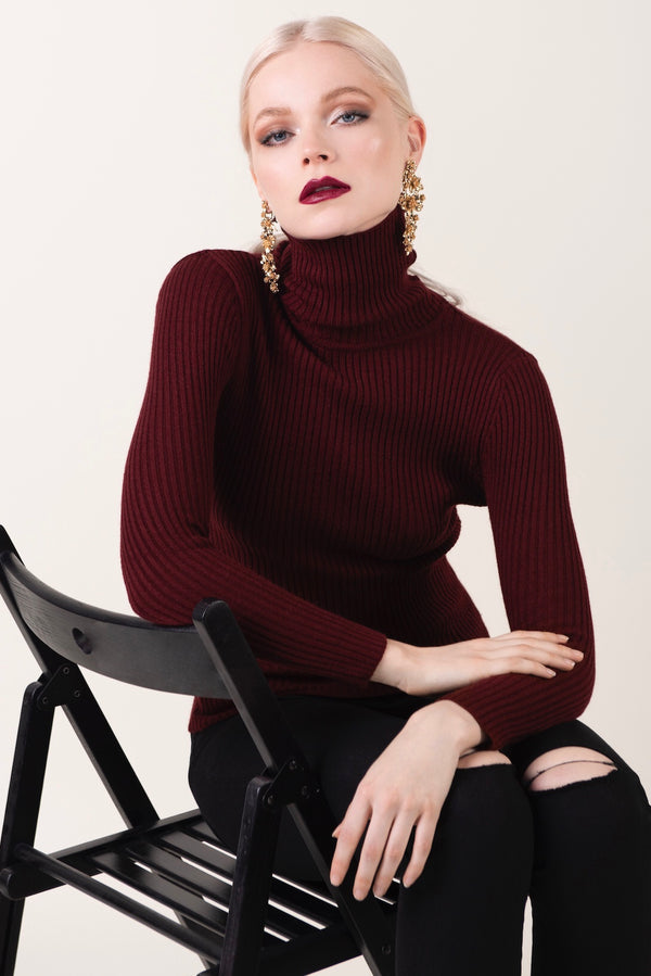 """Cheri"" - Rolled Neck Sweater - Just Your Dream London"