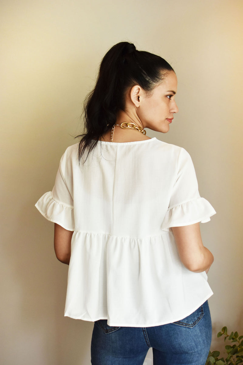 OCEAN - Ruffle Sleeve BLOUSE - Just Your Dream London