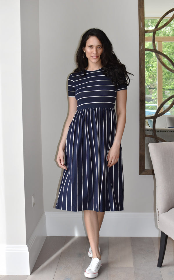 Caviana - Mixed Stripe Midi Smock Dress - Just Your Dream London