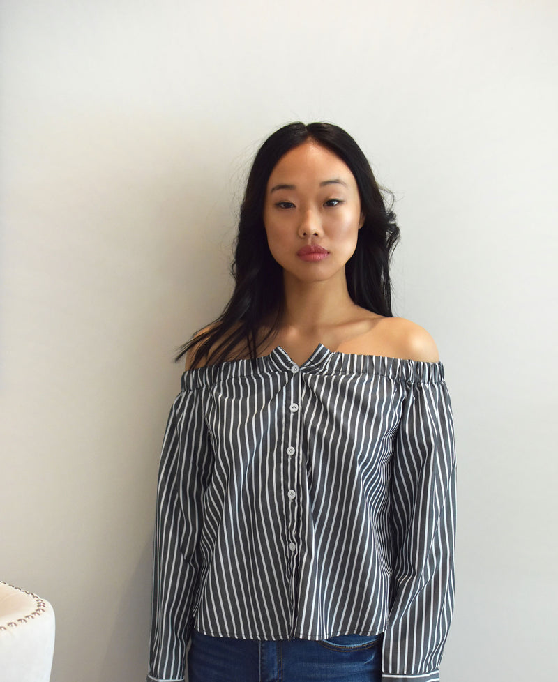 SALMA -  Button Striped Off Shoulder blouse - Just Your Dream London