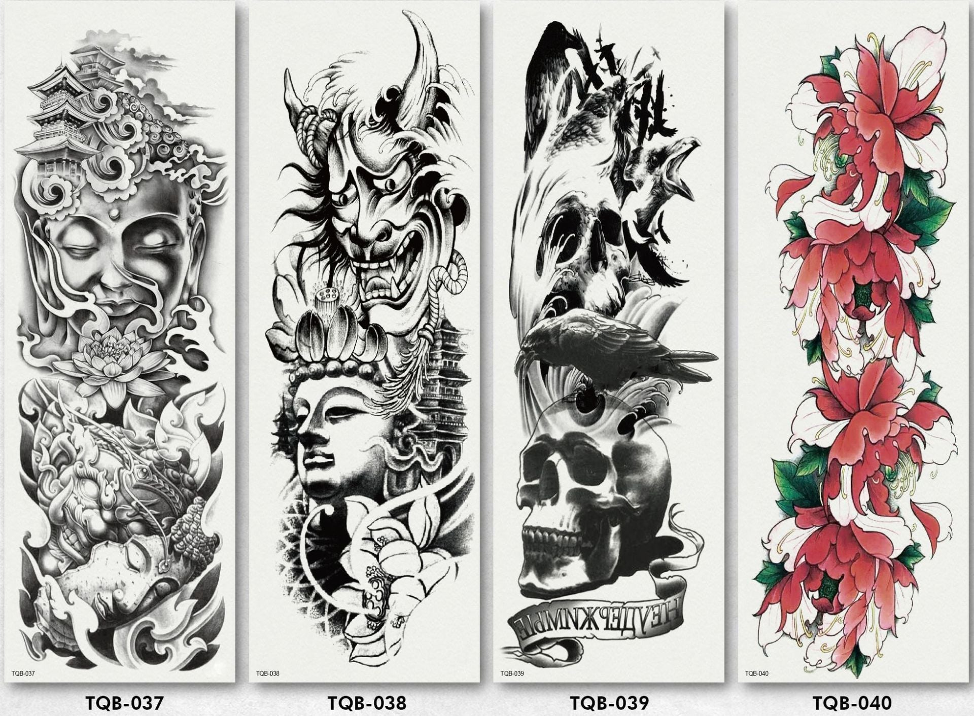 (4 pieces)Colorful Full Arm sleeve Tattoo Waterproof temporary tattoo Sticker【Buy 3 Free Shipping】
