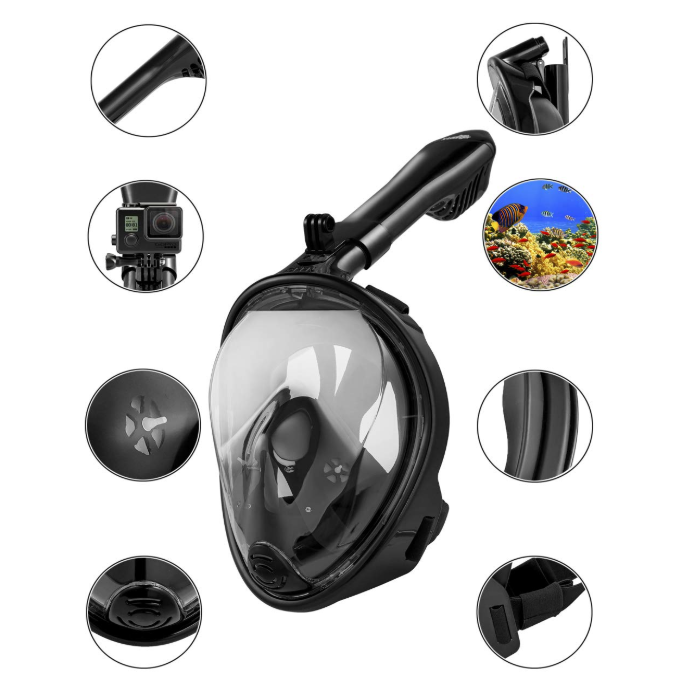 180° Diving Mask ,Snorkeling Mask with Detachable Camera Mount