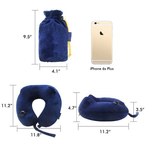 Inflatable pillow portable U-shaped neck pillow