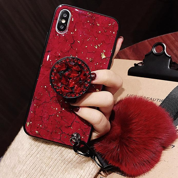 2019 New Fashion Fiber Soft Fur ball Diamond airbag bracket case for iphone