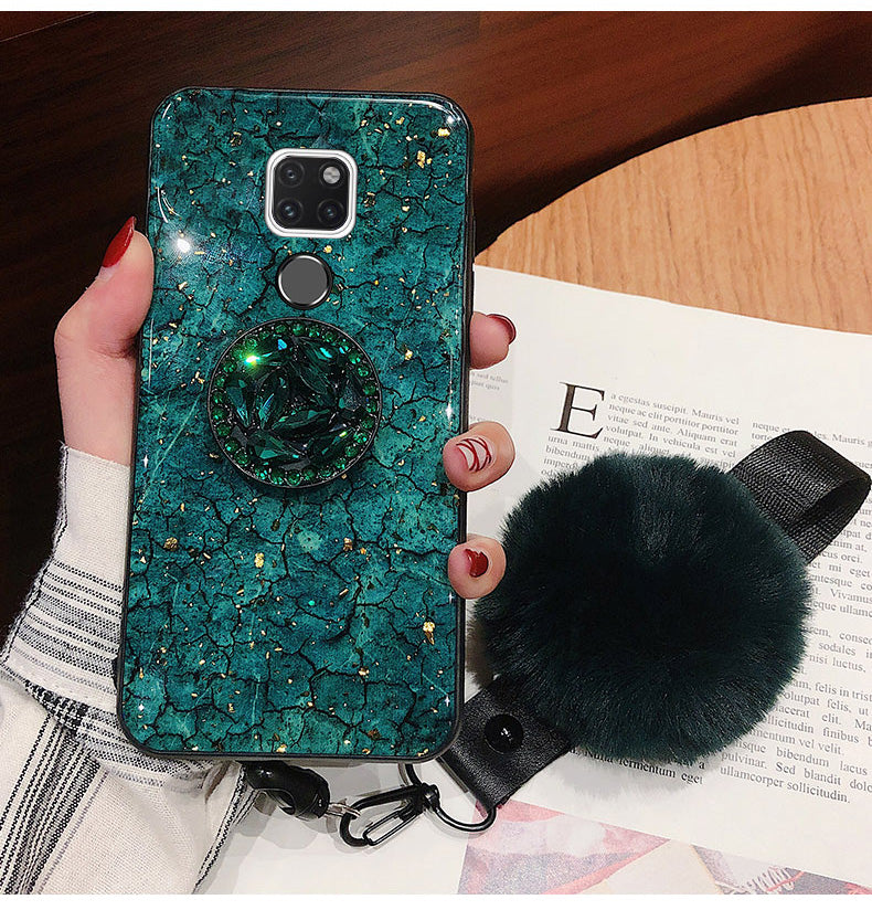 2019 New Fashion Fiber Soft Fur ball Diamond for case for HuaweiP20