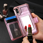 Multifunctional leather phone case with makeup mirror and card holder