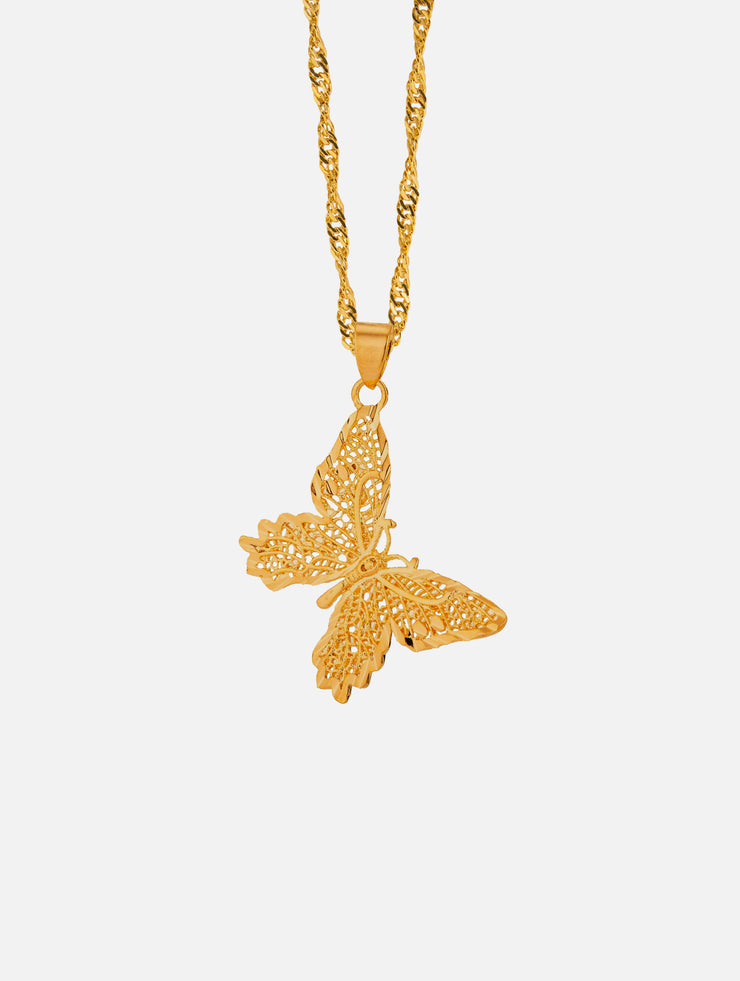 18k Gold Filled Butterfly Necklace