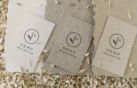 business cards made from 3 different hemp papers