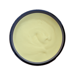 Shea Med Better Butter is packaged in a convenient wide-mouth jar. The raw shea butter blend is a yellow color with full spectrum C B D oil, tumeric, peppermint, and eucalyptus. Great for skin and hair, menstrual relief, soothes aches, soar muscles and more.