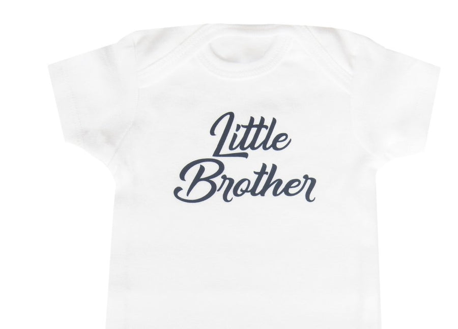 Little Brother Baby Onesie (White/Navy)